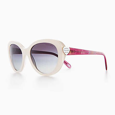 4cfd2aa94607 Return to Tiffany® oval sunglasses in pearl ivory and violet iridescent  acetate.