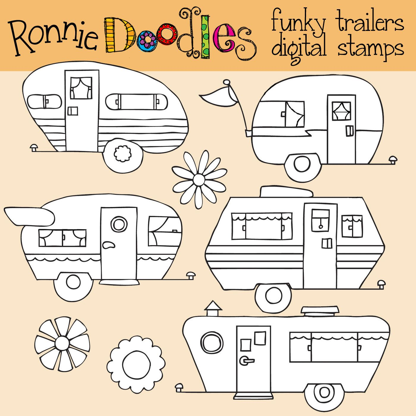 Ronnies Funky Trailers Digital Stamps