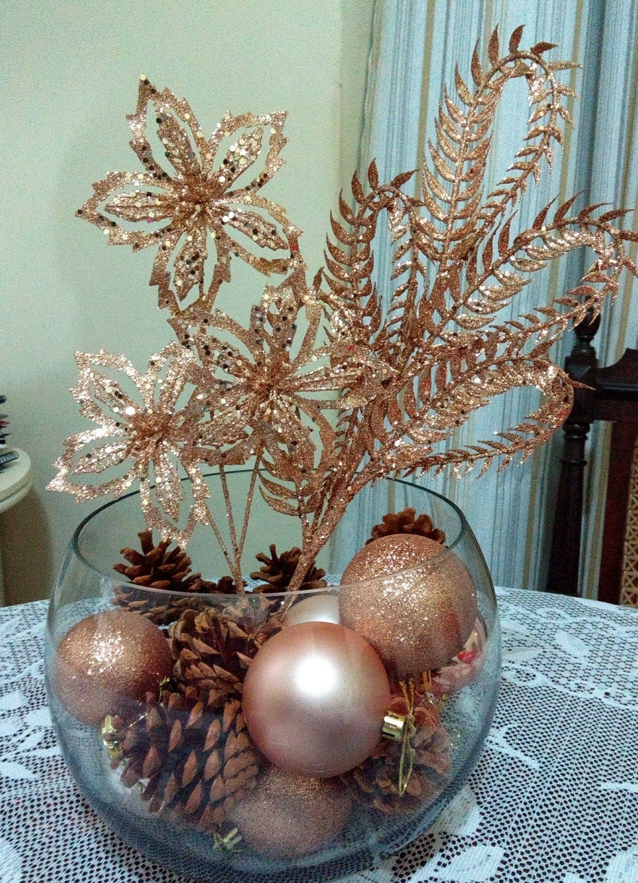 Arranjo De Mesa Para Um Natal Rose Gold Enfeites De Natal Rosa