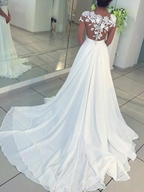 a3144e59fe0f A-Line/Princess Short Sleeves Scoop Floor-Length Applique Chiffon Dresses