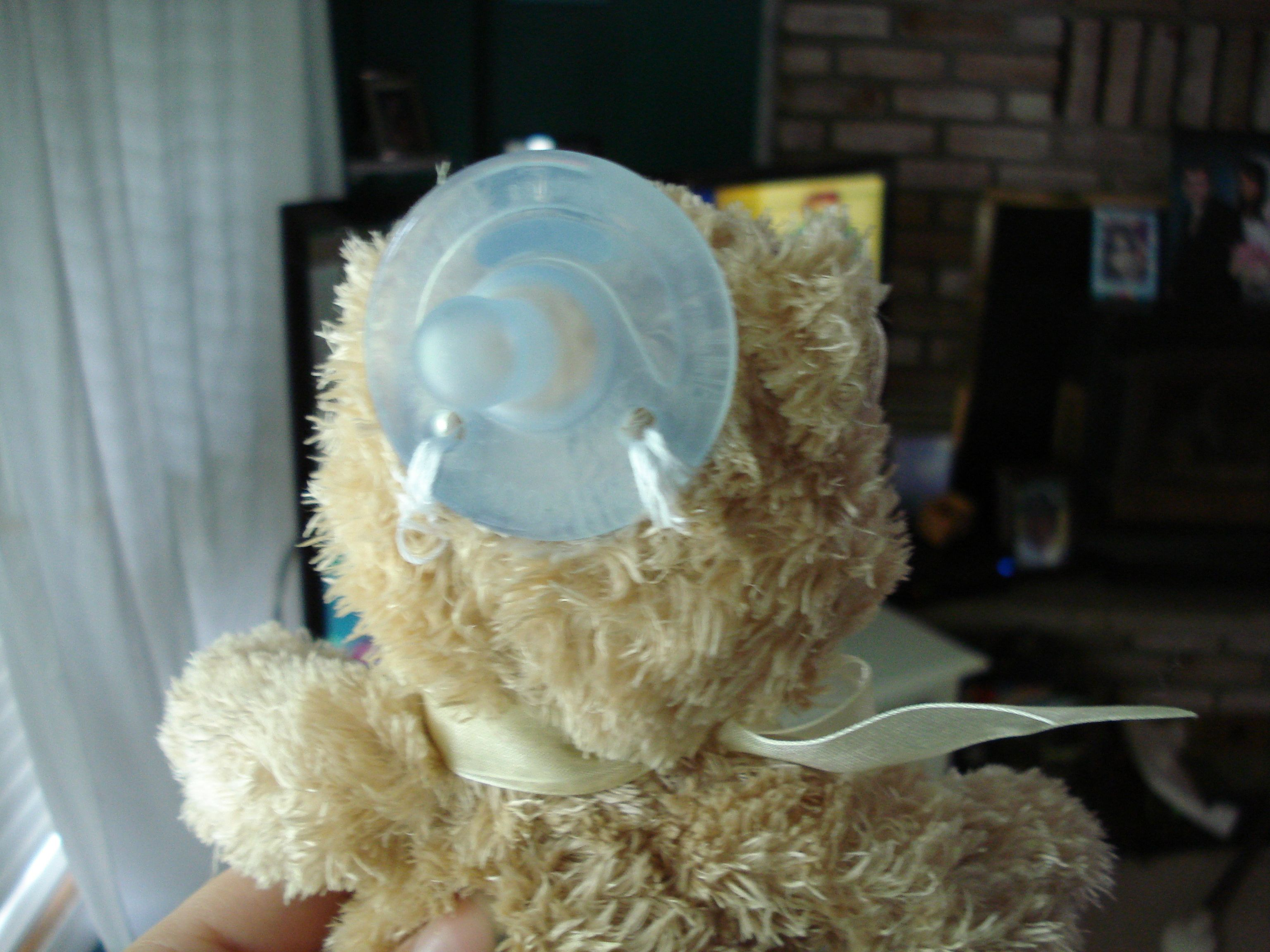b4b459639 Homemade Wubbanub. Small stuffed animal(babyfriendly) Soothie pacifier or  pacifier of your choice(soothies are easiest to sew because of the holes)  Needle ...