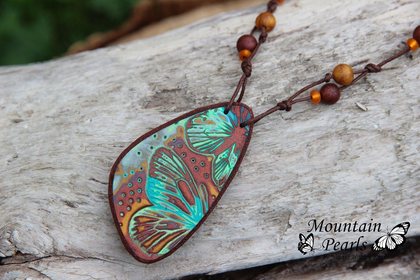 Polymer clay necklace, Mountain Pearls by Nataša Hozjan Kutin | by mountain.pearls