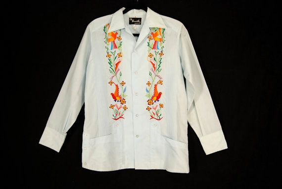 Baby Blue Embroidered Copacabana Satin Mexican Wedding Shirt MENS