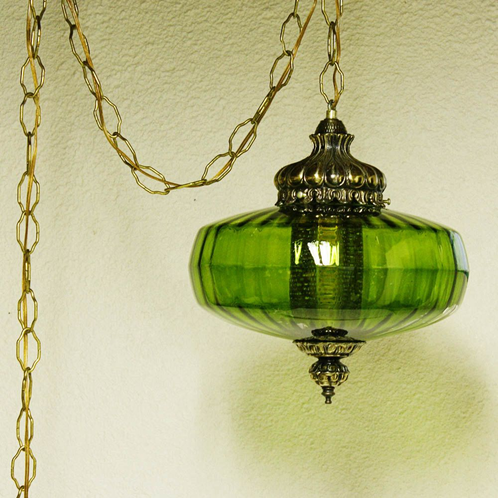 Vintage Hanging Light Hanging Lamp Green Globe Chain Cord