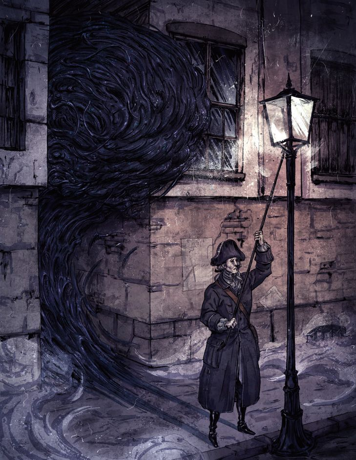 Lamplighter by Olli Hihnala, korintic.deviantart.com on @deviantART | Trail of Cthulhu: Hell Fire Cover art