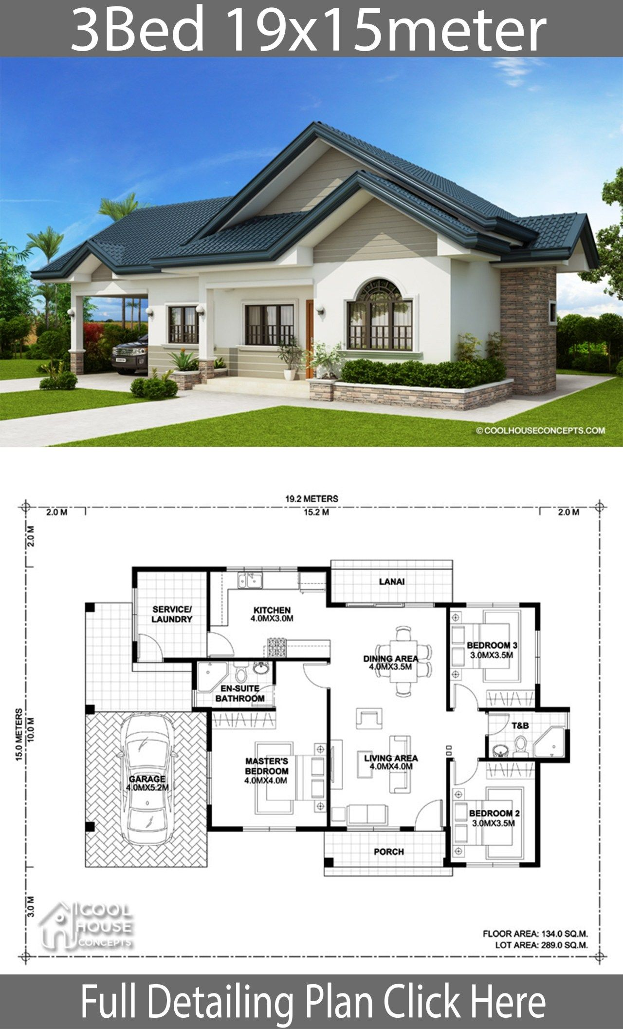 Home Design Plan 19x15m With 3 Bedrooms Home Ideas Beautiful House Plans Modern Bungalow House House Plan Gallery