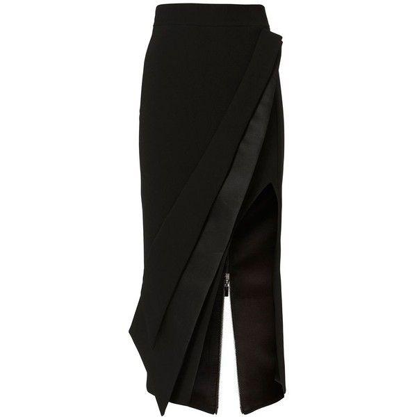Maticevski Women's Elite Pencil Skirt (£435) ❤ liked on Polyvore featuring skirts, black, lined skirt, high rise skirts, panel pencil skirt, shiny skirt and sash belt