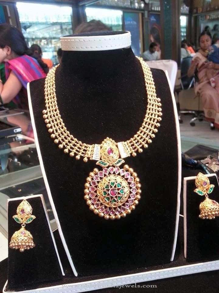 Gold Antique Necklace with Jhumka   Antique necklace, Gold ...