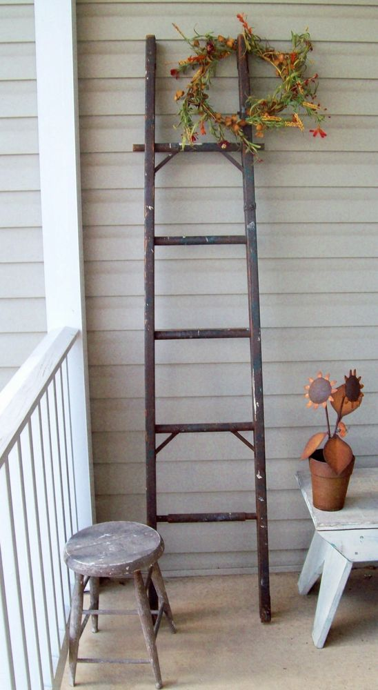Reduced Authentic Apple Orchard Ladder Antique Folk Art Vintage 6 Ft Antique Folk Art Folk Art Antiques