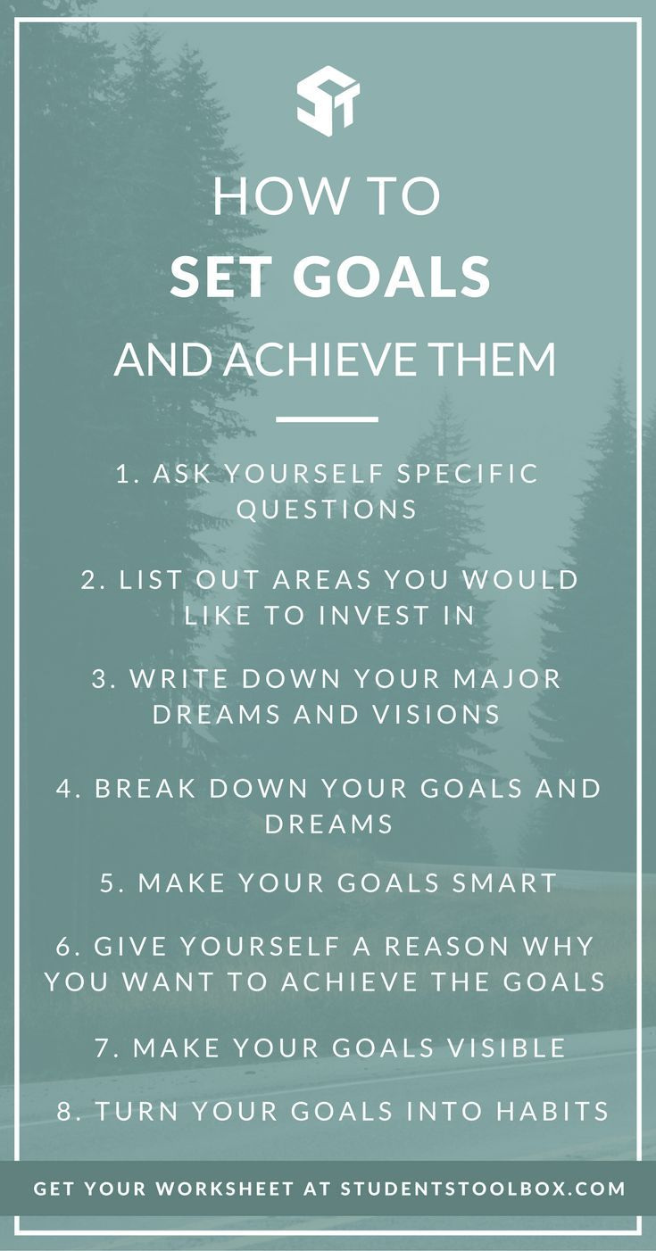 How to Set Goals and Achieve Them | Goal setting worksheet, Goal ...