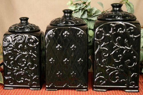 Tuscan Drake Design Black Scroll Fleur De Lis Ceramic Kitchen Canisters S 3