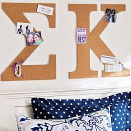Greek letter pin board cork board, perfect for pictures or notes!  Bulletin Boards, Pin Boards & Fabric Pin Boards | PBteen