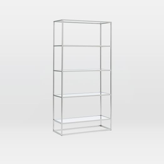 Box Frame Wide Bookcase, Glass/Brushed Nickel | Game/Stream Room ...