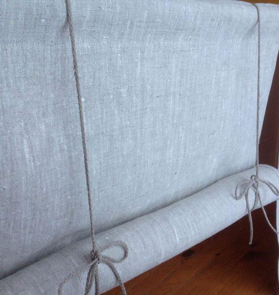 Window Shade  roll up blind  tie up blind  Swedish blind  White linen blind