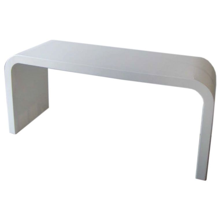 White Lacquered Waterfall Console Table