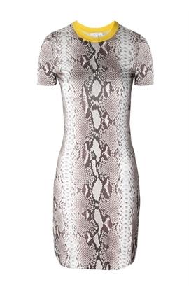 Oxygen | Carven Short Sleeve Printed Dress Snake http://www.oxygenboutique.com/Short-Sleeve-Printed-Dress-Snake.aspx #carven #dress #snake #print #yellow #spring #fashion