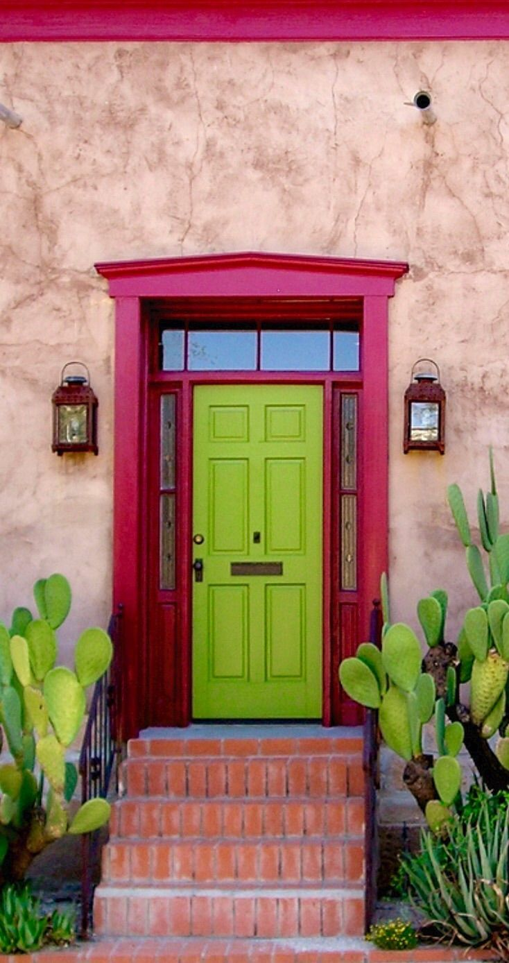This Doorstep Is Looking Really Fun And Colorful In Tucson, Arizona! We  Love The Bright Green Door And Hot Pink Trimming!