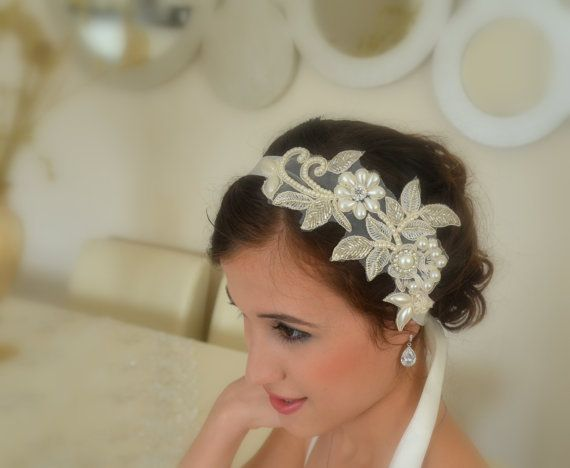 Ivory lace bridal headband floral lace bridal headband by xxyz, $97.00