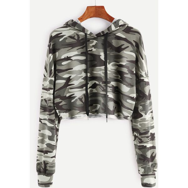 73ae7d64cb45d Olive Green Camo Print Crop Hoodie ( 15) ❤ liked on Polyvore featuring tops