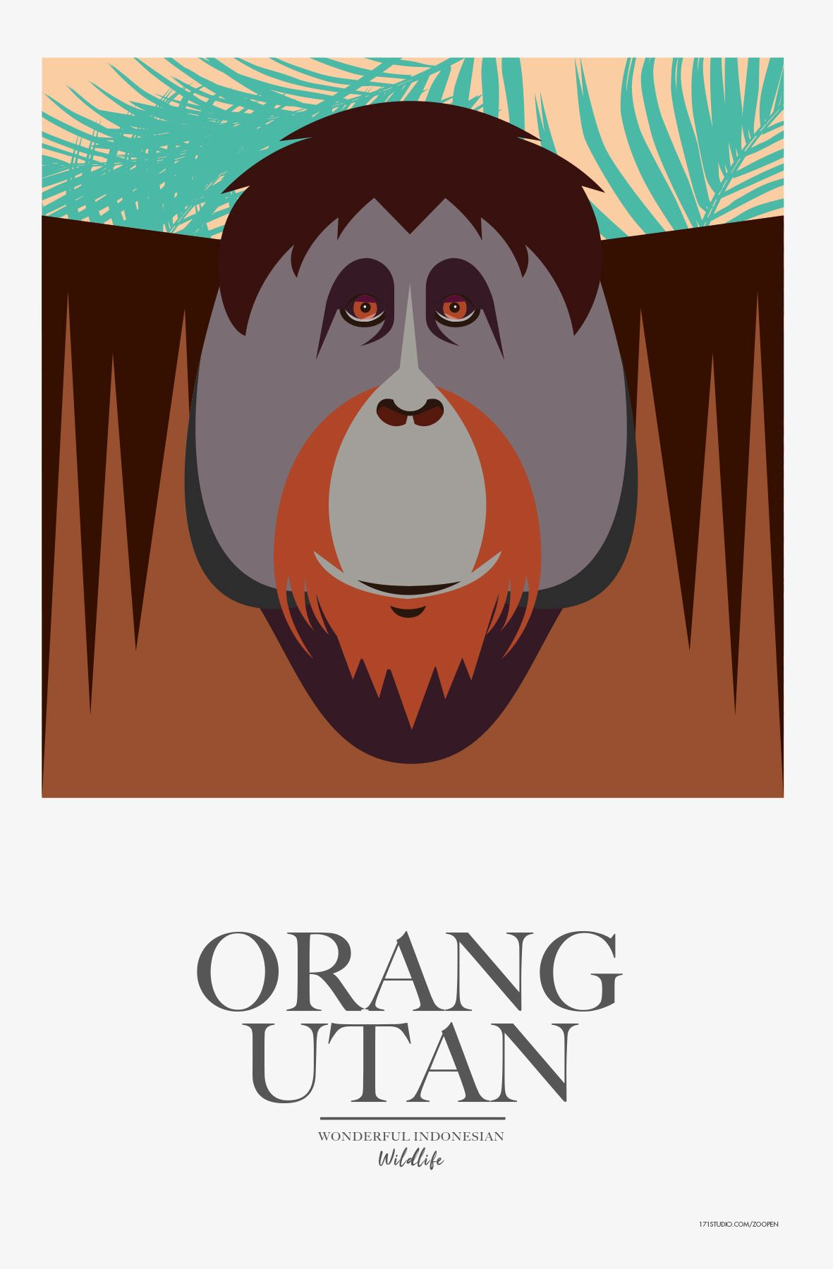 Poster Orang Utan Indonesian Wildlife 171STUDIO Mathieu