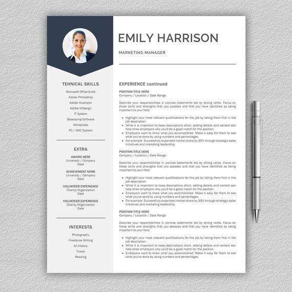 Resume Template CV Template + Cover Letter for Word Resume