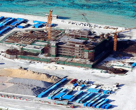 A large facility is undergoing construction by the Chinese on the Cuarteron Reef in the Spratly Islands in the South China Sea. (Provided by Filipino government sources)