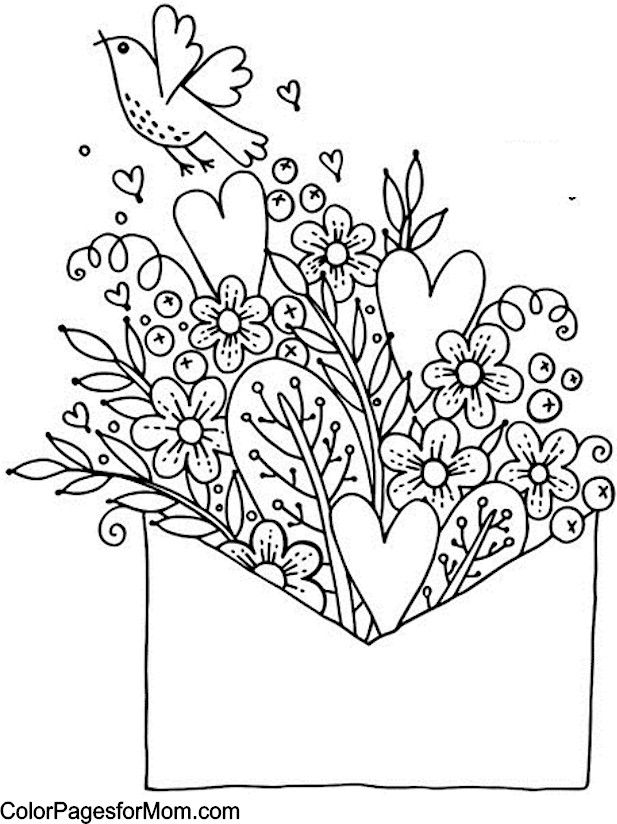 Hearts Coloring Page Flowers Bouquet Envelope Valentine