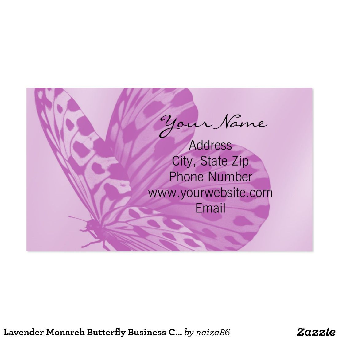 Lavender Monarch Butterfly Business Card | Business Card | Pinterest ...
