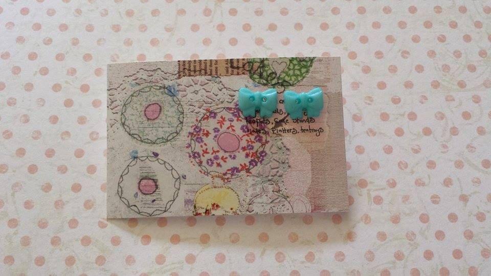 aqua blue bow button post earrings jewelley by maxollieandme on Etsy
