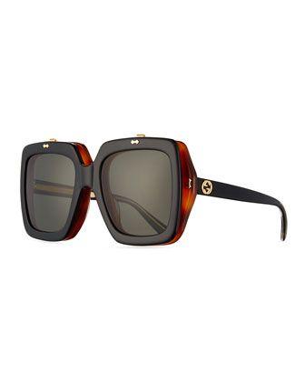 aff2c84a2ed Oversized Square Flip-Up Sunglasses