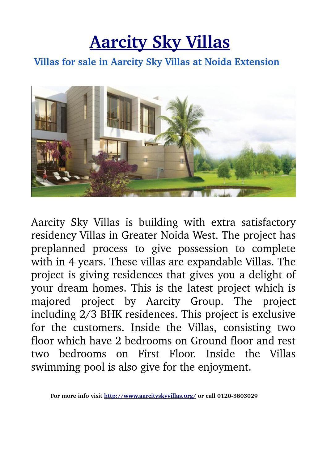 Villas For Sale In Aarcity Sky Villas At Noida Extension With