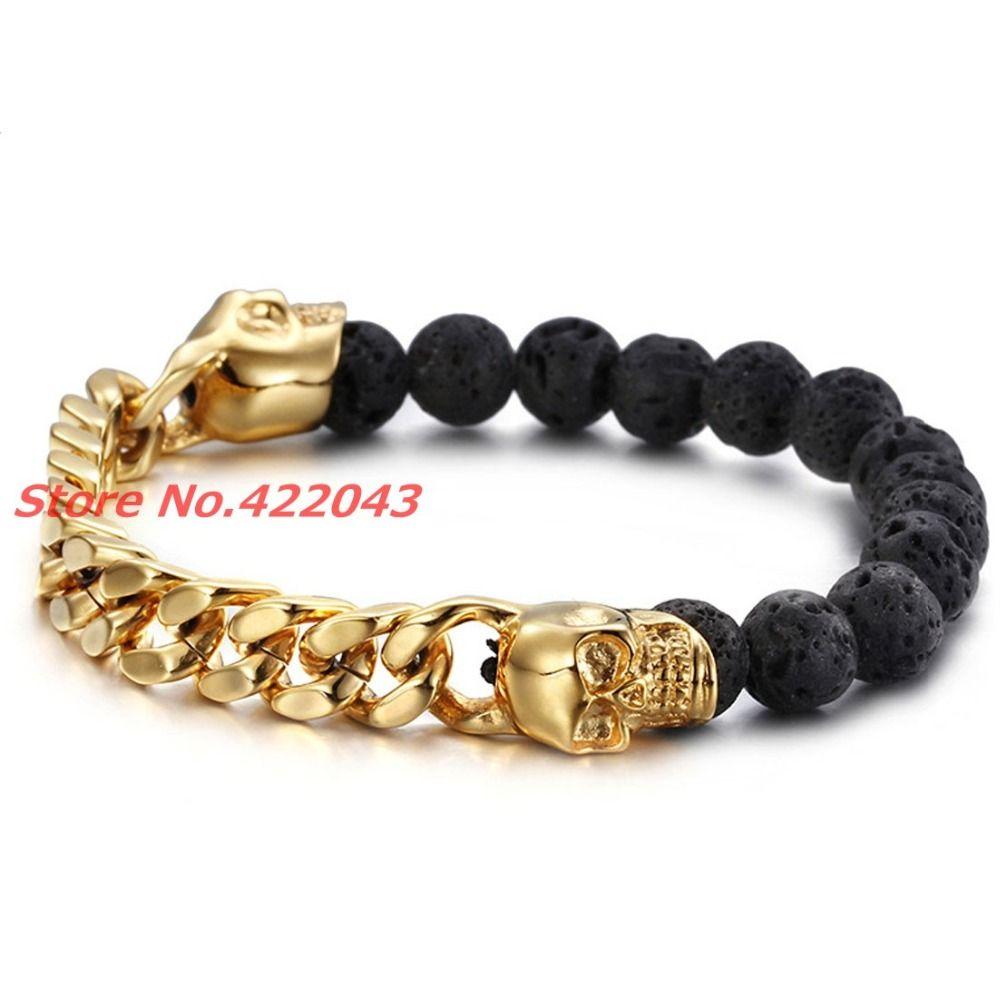 Skull bead bracelet Beaded bracelet Beads and Chain bracelet Black beads bracelet