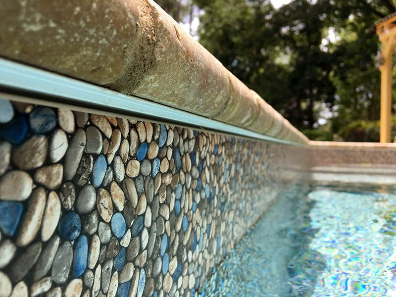 Shoal creek pool liner tan liner with no tile edge backyard