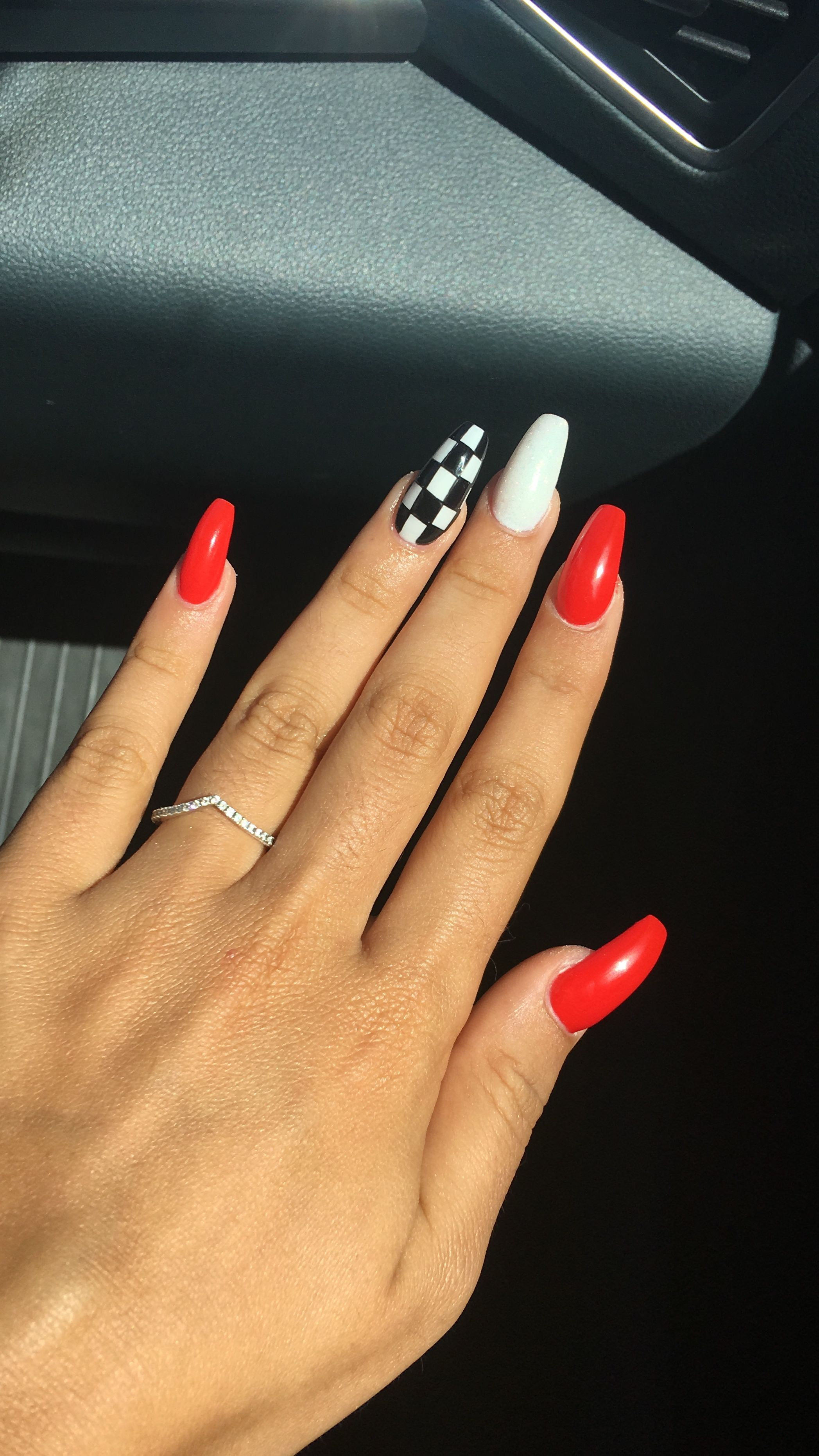 Pin By Nevaeh Taylor On Unhas Red Acrylic Nails Checkered Nails Best Acrylic Nails