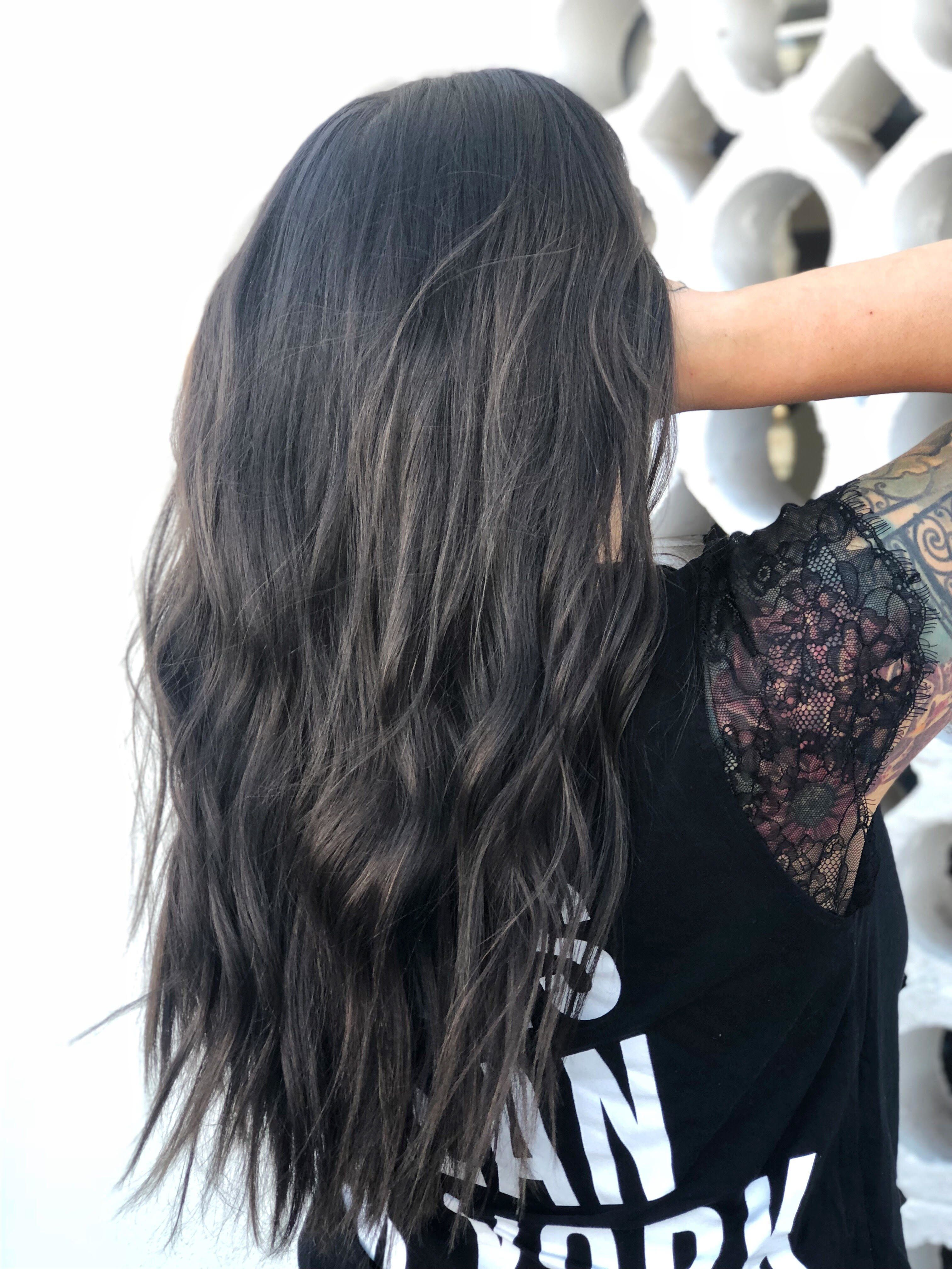 Cool Toned Balayage Lets Those With Dark Hair Try The Beloved Hair Color Technique Hair Color Techniques Black Hair Balayage Cool Tone Brown Hair