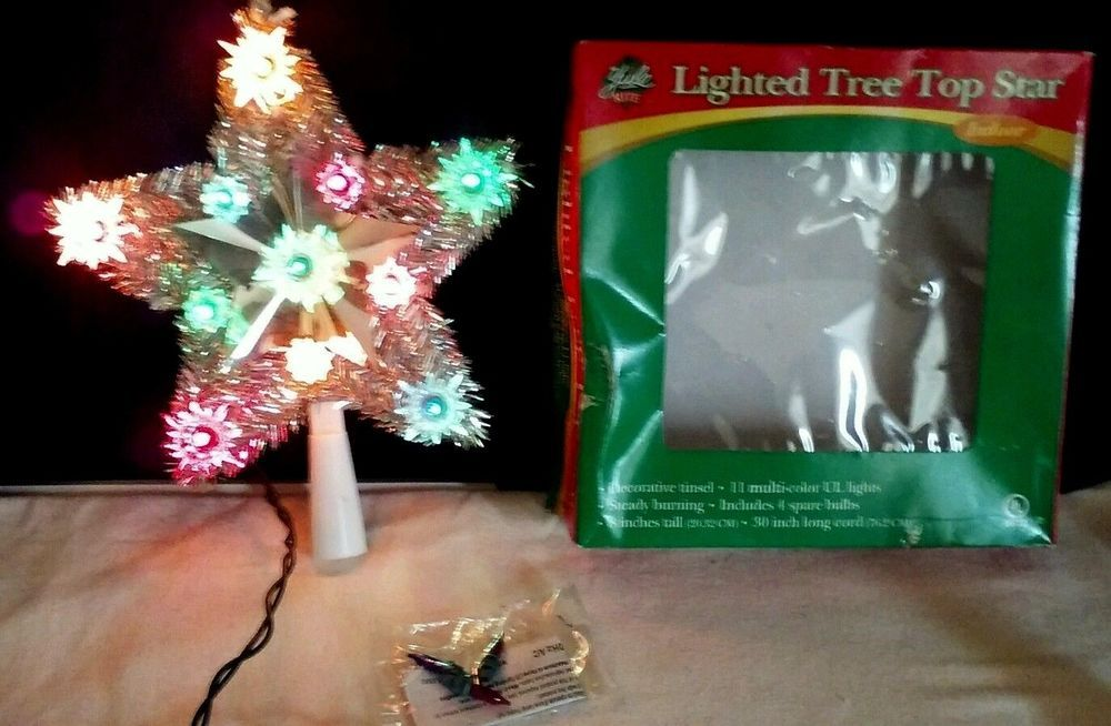 Yule Rite Lighted Tree Top Star 8in Decorative Tinsel Indoor Christmas UL  Lights #YuleRite - Yule Rite Lighted Tree Top Star 8in Decorative Tinsel Indoor