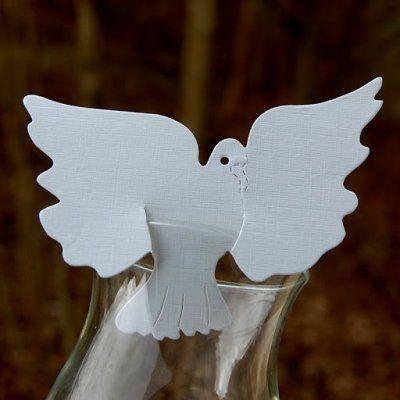 Marque places porte nom pour mariage bapteme communion colombe blanch - Marque place pour mariage ...