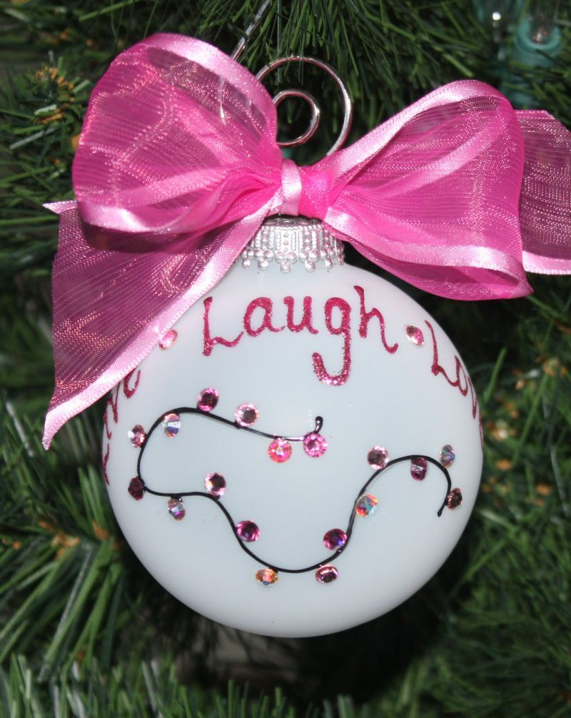 Breast Cancer Awareness Ornament Handpainted with Live Laugh Love ...