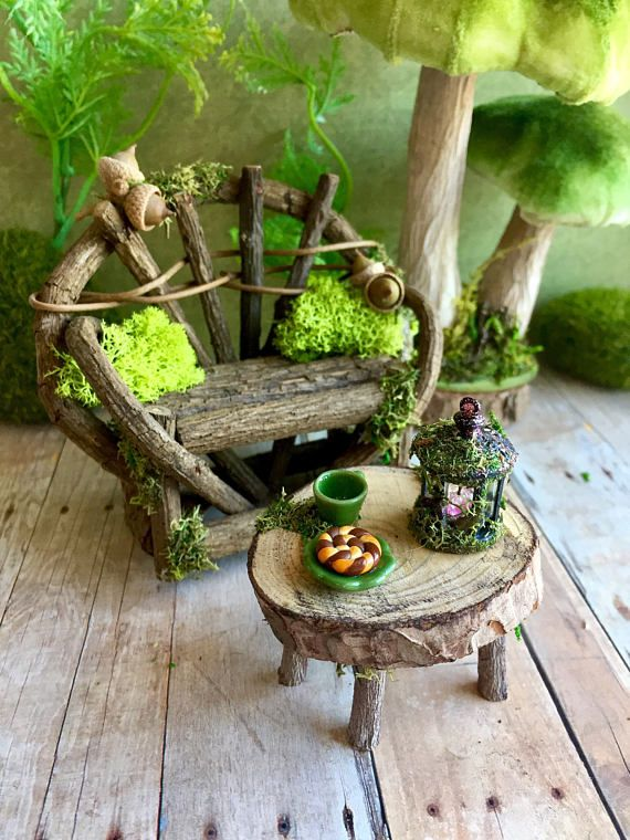 Miniature Fairy Bench And Coffee Table Fairy Furniture Set With