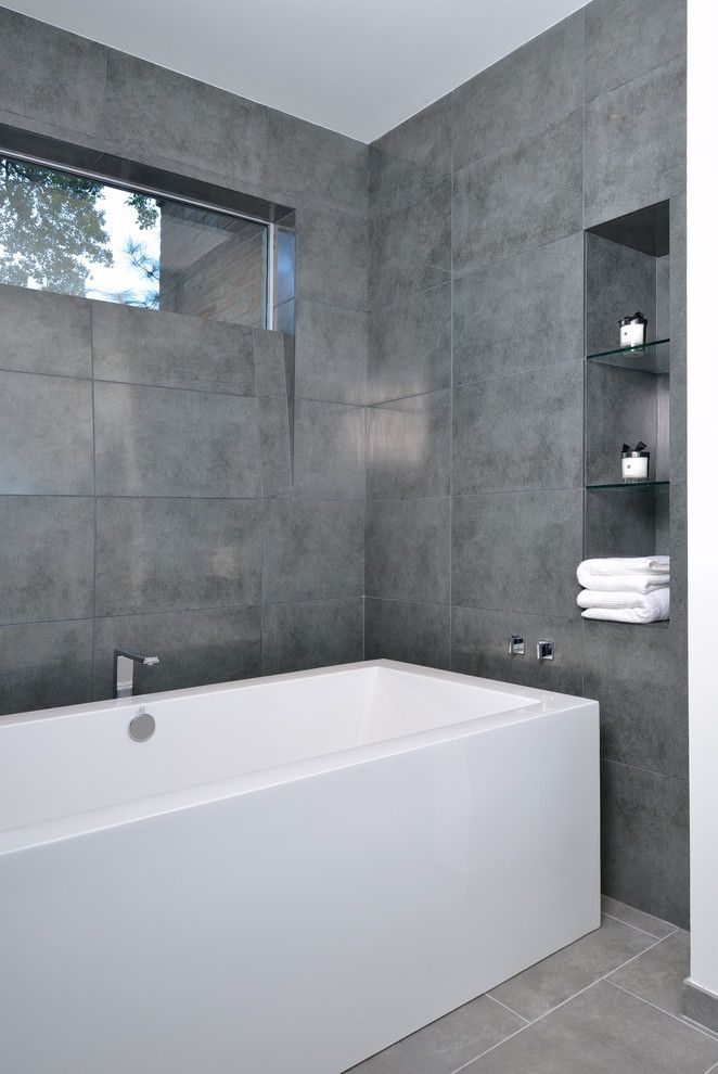 Grey Bathroom Tile Bathroom Modern With Angled Sill Grey Tile