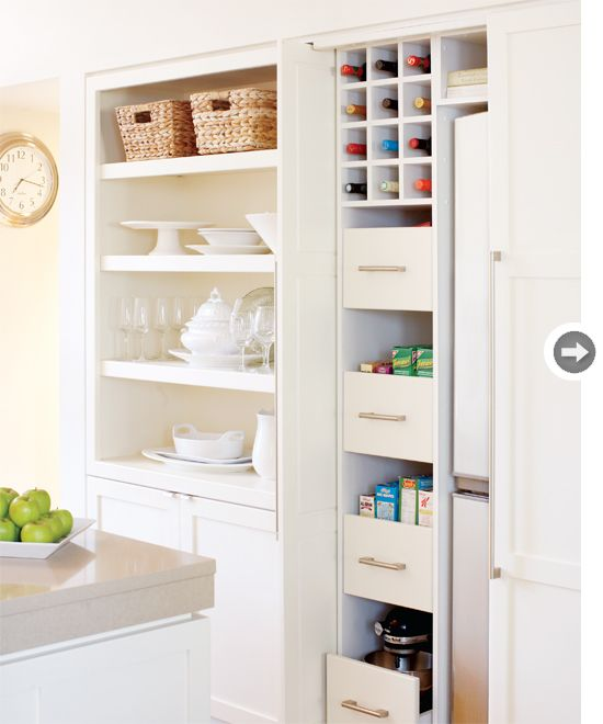 Possibly The Best Idea Ever Hiding Storage And Fridge Behind Sliding Door Love 3 I M Going To See If It S Possible Do This In My Tiny Kitchen