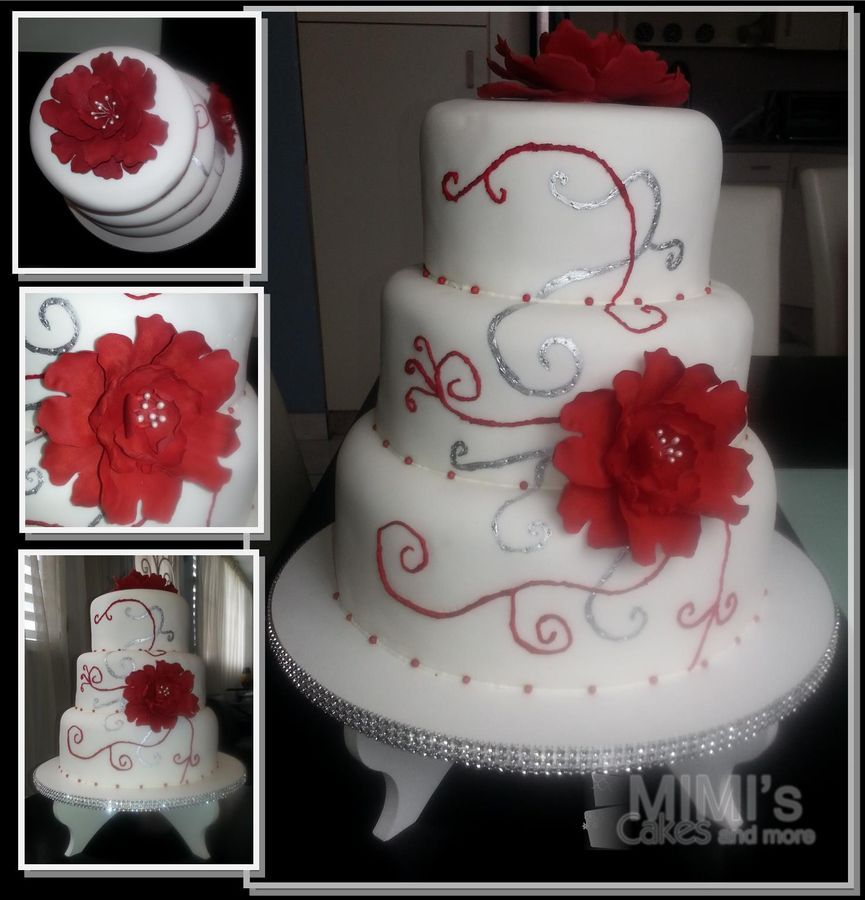 Red And White Black Heart Themed Cakes