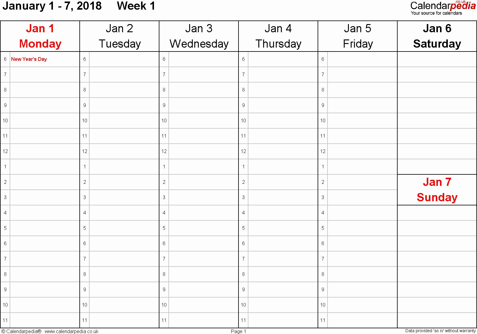 One Week Calendar With Hours Unique Weekly Calendar 2018 Uk Free Printable Templates For Pdf Calendar Template Calendar Printables Weekly Calendar Printable
