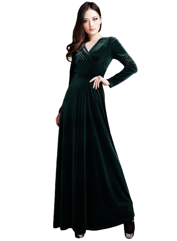 fac78b646f51 Women s V Neck Long Sleeve Velvet Pleated Maxi Prom Dress ...