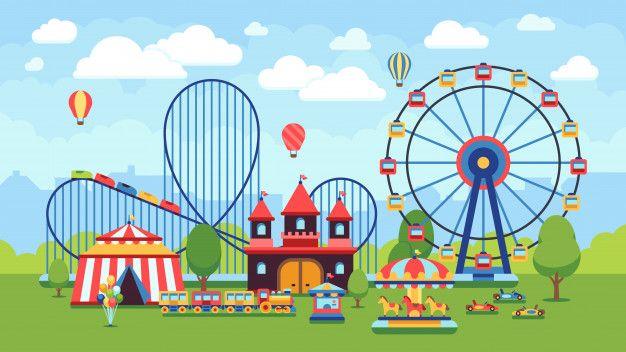 Parque de diversões dos desenhos animado  Premium Vector