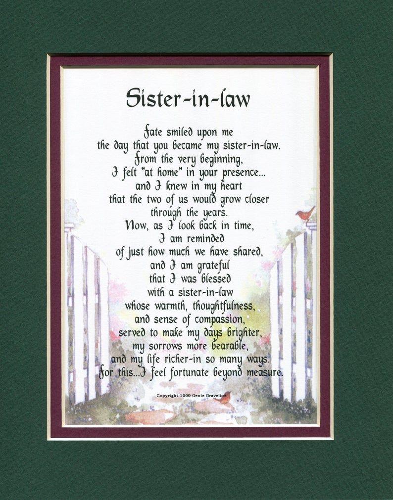 Sister in law Poem Sister in law Present Sister in law