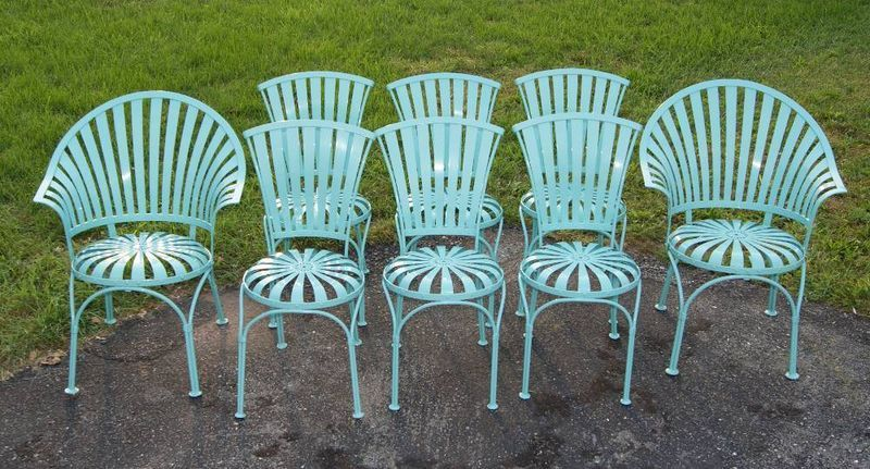 8 1920\'s Steel Springer Patio Garden Chairs Salterini Florentine ...