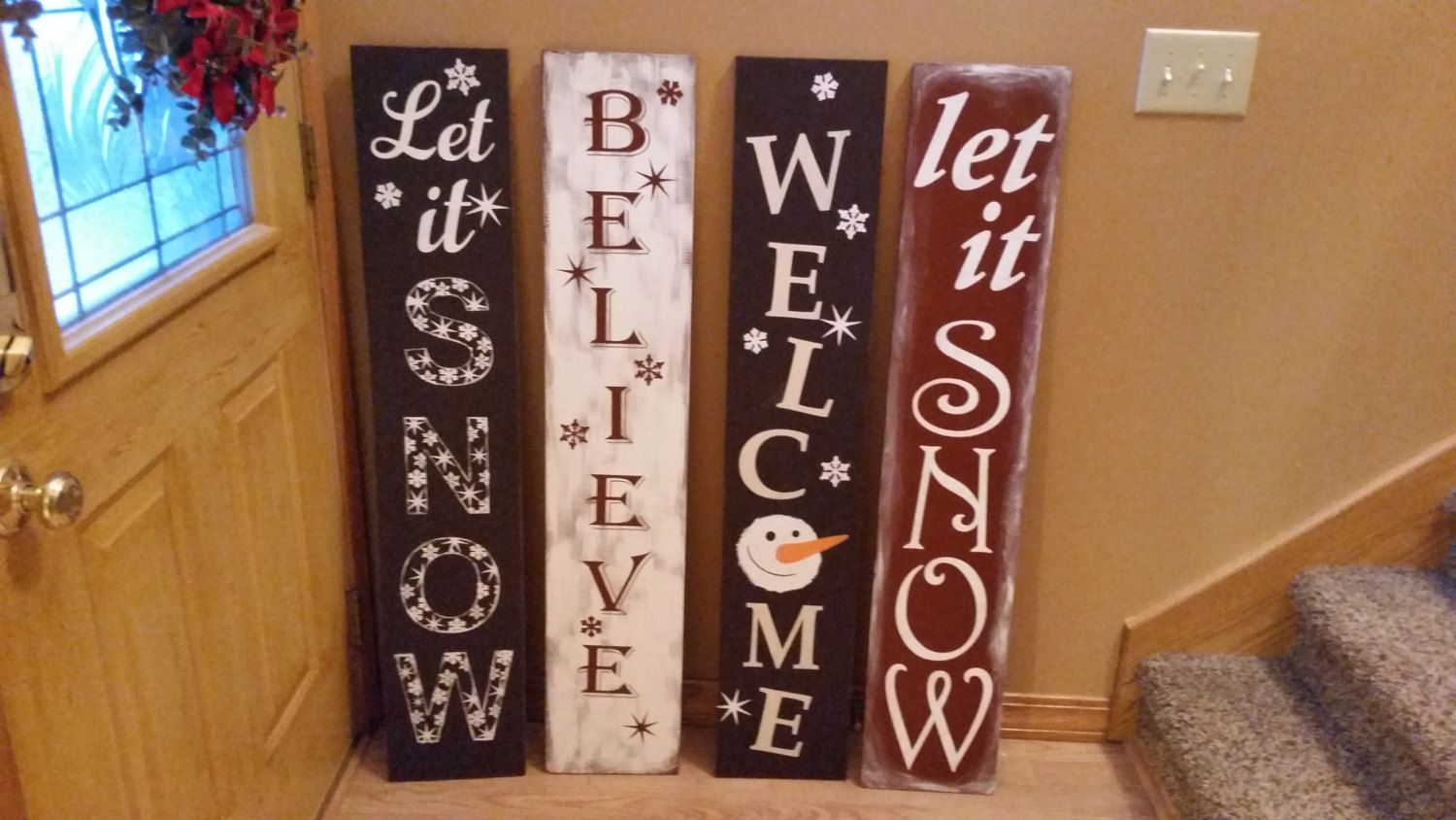 Winter Welcome Sign Let It Snow Believe Or Snowman Welcome Believe Sign Welcome Sign Do It Yourself Crafts