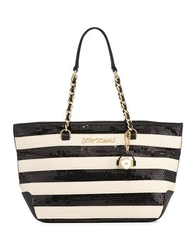 V2XW8 Betsey Johnson Sequin Love Striped Tote Bag, Black/White