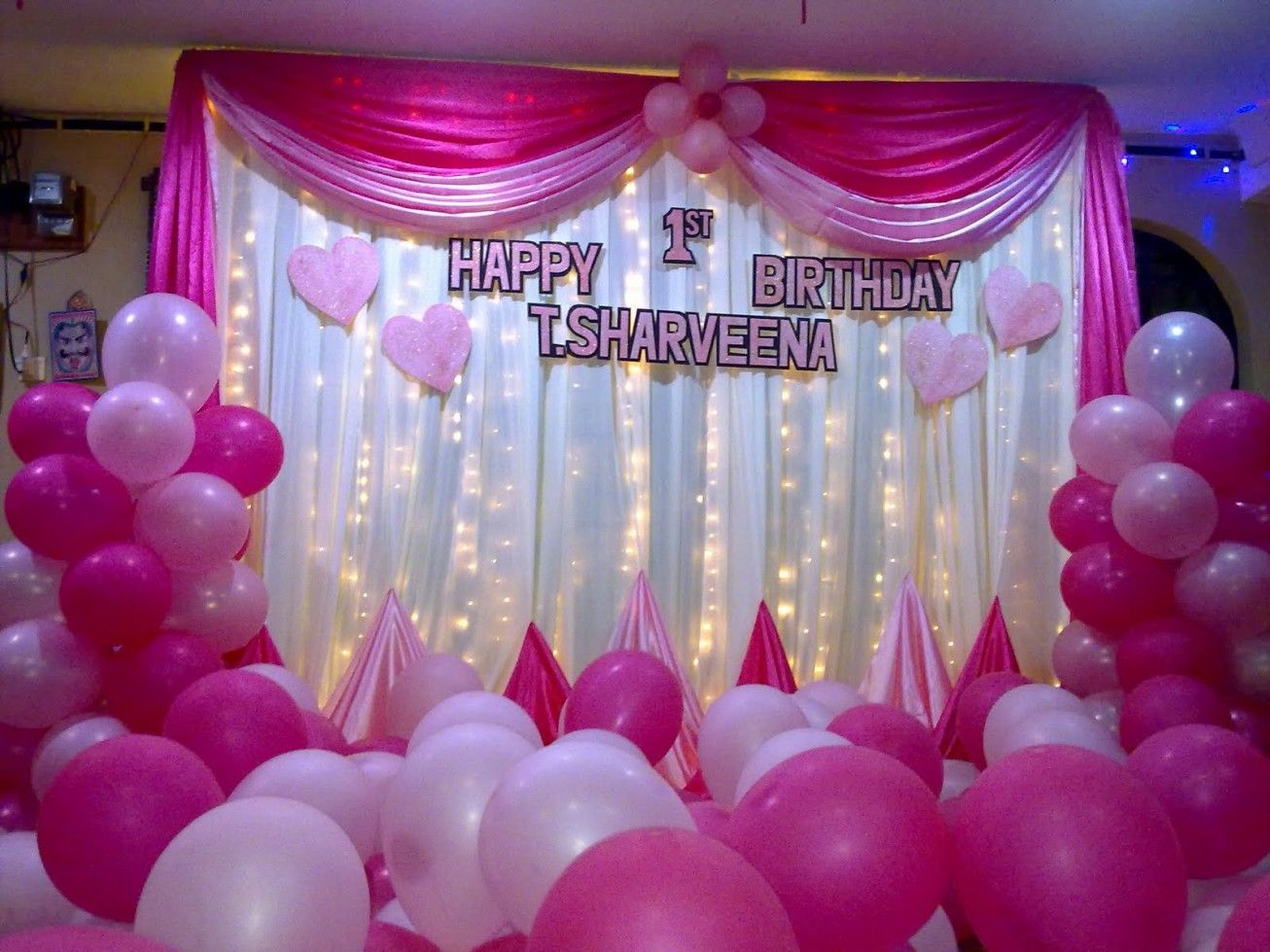 Pin And White Birthday Party Balloons Decoration Ideas